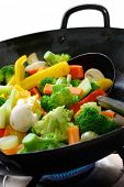 stock photo of chinese wok  - stir fried vegetables in a chinese wok - JPG