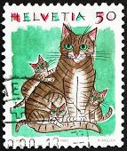 Postage stamp Switzerland 1990 House Cats, Felis Catus, Animal