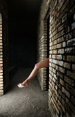 picture of undraped  - Glamour photo of the naked woman leg in pink shoes - JPG