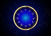 Wheel Of The Zodiac And Constellations, Set Collection Of 12 Zodiac Signs, Aries, Taurus, Leo, Gemin poster