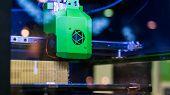 Print Head Of 3d Printer Machine Printing Plastic Model At Modern Scifi Technology Exhibition. 3d Pr poster