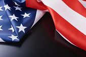 Close Up Of Waving National Usa American Flag On Dark Background With Copy Space. Concept Of  4th Of poster