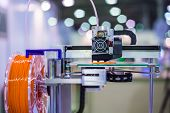3d Printing Technology Concept - Three Dimensional Printing Machine Making Physical 3d Model At Mode poster