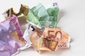 Crumpled Euro Money. European Currency Bills Of 50, 100, 200 And 500 Euros On White Background. Sele poster