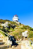 Cape Point, South Africa - May 19, 2015: The Old Cape Point Lighthouse Standing On The Highest Secti poster