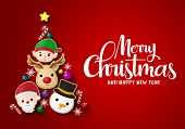 Christmas Tree Vector Background Design. Merry Chistmas And Happy Ne Year Greeting Typography Text W poster