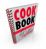 A spiral bound book with the title Cookbook or Cook Book and subtitle Let's Get Cooking to give you