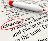 A dictionary page with the word change circled to define the term as adapting and evolving to condit