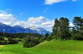 Alps mountain meadow tranquil spring view  near Innsbruck Austria