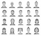 Profile Icons. Male And Female Head Silhouettes Avatar, User Icons, People Portraits. Vector Set Of  poster