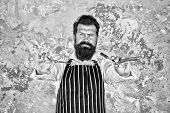 Barber Tools. Taking Good Care Facial Hair. Bearded Hipster Shaving. Barber In Apron Hairdresser Equ poster