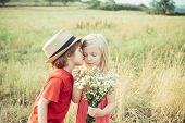 Love. Valentines Day. Festive Art Greeting Card. Childhood On Countryside. Lovely Children. Human Em poster