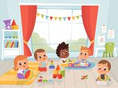 Children Playing Room. Little New Born Or 1 Years Baby With Toys Indoors Vector Kids Characters. Kin poster