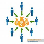 Crowd Funding Concept With Indian Rupee, Financial Concept Background, Crowd Funding Money. Vector I poster