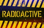 Radioactive Warning Sign. Nuclear Power Danger Symbol With Yellow And Hazard Black Stripes. Vector I poster