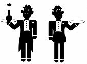 Silouette of two butlers.