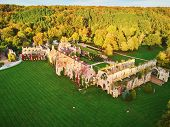Scenic Aerial View Of Abbaye Des Vaux-de-cernay, A Cistercian Monastery In Northern France, Situated poster