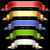 Fitas decorativas com ajuste de comprimento. Quadro de vermelho, dourado, azul, verde e branco de vetor isolado na est