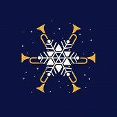 Jazz Christmas Holidays Music Fest Hand Drawn Flat Vector Icon. Trumpet Christmas Snowflake Jazz Fun poster