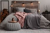Yerba Matte On Wooden Plate On Grey Woolen Pouf In Stylish Bedroom Interior poster