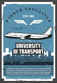 Civil Aviation School, University Of Air Aviation Vintage Retro Posters. Vector Passenger Airplane P poster
