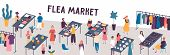 Flea Market Flat Vector Illustration. Sellers And Customers Faceless Characters. Rag Fair Items Buyi poster