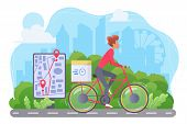 Cycle Delivery Flat Vector Illustration. Courier On Bicycle Cartoon Character. Ecological Express Sh poster