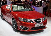 GENEVA - MARCH 8: The Saab 93 on display at the 81st International Motor Show Palexpo-Geneva on March 8; 2011  in Geneva, Switzerland.