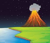 Illustration of volcano in the distance