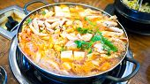 image of pot-bellied  - Korean food kimchi stew kimchi chigae korean cuisine squid crab shrimp - JPG