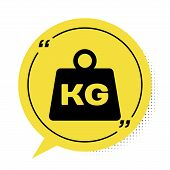 Black Weight Icon Isolated On White Background. Kilogram Weight Block For Weight Lifting And Scale.  poster