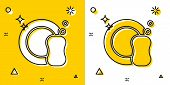 Black Washing Dishes Icon Isolated On Yellow And White Background. Plate And Sponge. Cleaning Dishes poster