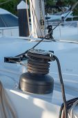 Winch On A Sailboat While Sailing poster