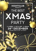 Xmas Party Flyer Invitation. Holiday Background With Realistic Black Gift Box, Gold Snowflake And Sp poster