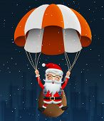 Santa Claus Character In Para Suit Vector Background Design. Cute Christmas Character Santa Claus Fl poster