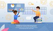 Children Early Development School Or Courses Trendy Flat Vector Advertising Banner, Promo Poster Tem poster