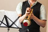 Live Music Background. Trumpet With Straight Mute In Trumpeter Hands. Close Up Photo With Selective  poster
