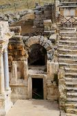 Side Entrance To The Stage Of The Amphitheater. Ancient Antique Amphitheater In The City Of Hierapol poster
