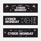 Template Design Geometric Web Banner Set For Cyber Monday Offer. Promotion Design In Glitch Style Wi poster