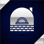 Silver Brick Stove Icon Isolated On Dark Blue Background. Brick Fireplace, Masonry Stove, Stone Oven poster