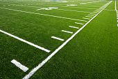 stock photo of football field  - Markers on an astro turf football field - JPG