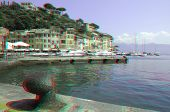 View from pier on small harbor and town of Portofino on Ligurian sea, Italy (anaglyph stereoscopic i