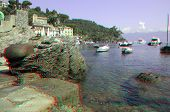 Remains of the ancient harbor in the bay of Portofino in Liguria, Italy (anaglyph stereoscopic image. Need Red Cyan glasses to view this image properly).