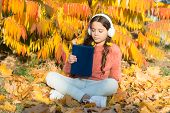 Schoolgirl Study. Child Enjoy Reading. Visual And Audio Information. Little Child Enjoy Learning At  poster