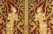Thai Style Gloden Deva Carving On Wood
