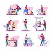 House Husband Set. Man Doing Laundry, Ironing, Feeding Baby. Flat Vector Illustrations. Parental Lea poster