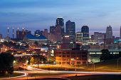 stock photo of kansas  - Image of the Kansas City skyline at sunrise - JPG