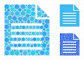Document Mosaic Of Round Dots In Various Sizes And Color Tones, Based On Document Icon. Vector Round poster