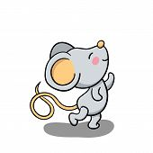 Cute Mouse Dancing And Smiling. 2020 New Year Symbolic Animal. Rat Or Mouse Cartoon Vector Illustrat poster