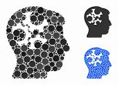 Mind Gears Mosaic Of Filled Circles In Various Sizes And Color Tinges, Based On Mind Gears Icon. Vec poster
